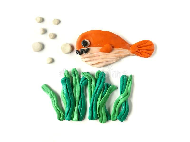 Argila subaquática bonita do plasticine, peixes bonitos e massa da alga fotografia de stock royalty free