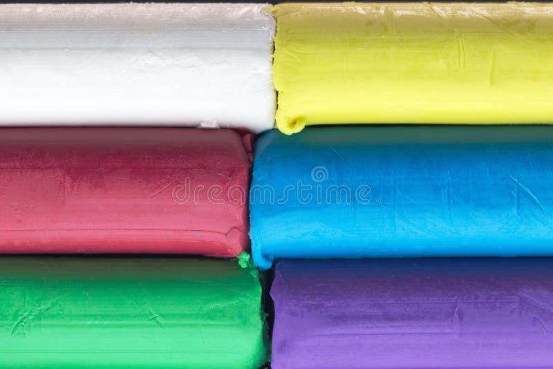 Argile de modélisation coloré, pile de pâte colorée photographie stock