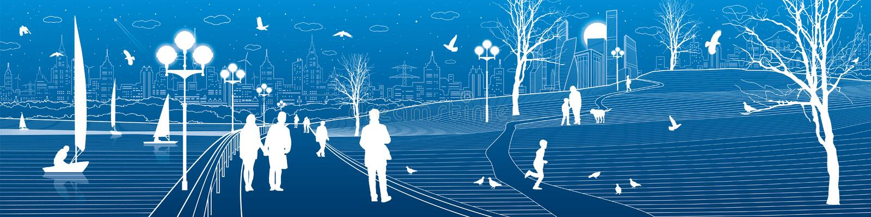 Argine della città Passeggiata della gente lungo il marciapiede Anche parco illuminato I bambini stanno giocando gli uccelli stan royalty illustrazione gratis