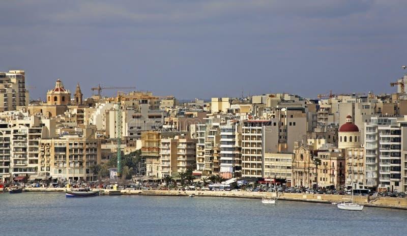 Argine in Sliema (Tas-Sliema) Isola di Malta immagini stock libere da diritti