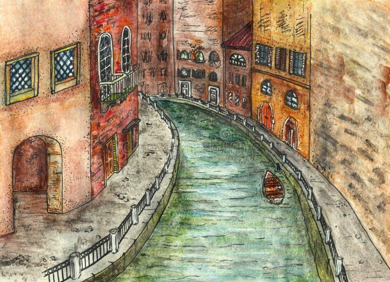Argine storico della città, canale del fiume con la barca - illustrazione disegnata a mano royalty illustrazione gratis