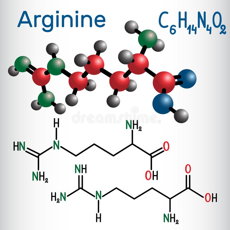 Arginine Arg, R amino acid molecule, it is used in the biosynt stock illustration