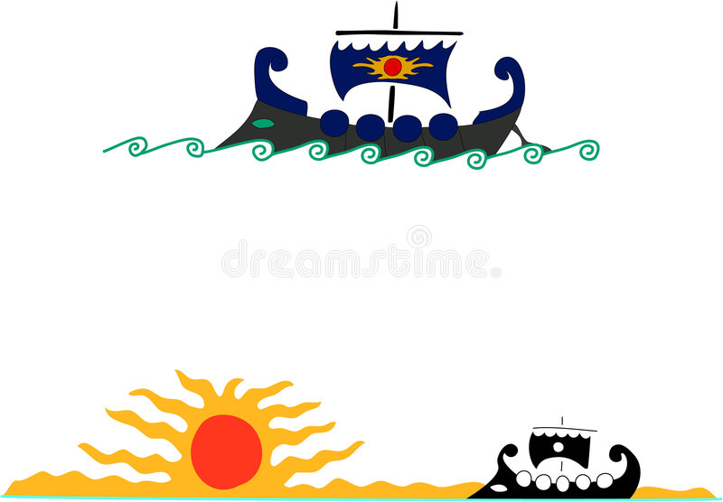 Argo. The mythological ship, myths of the ancient world, feats of heroes vector illustration