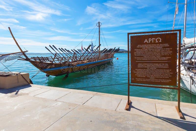 Argo ship copy of prehistoric vessel in port Volos, Greece stock photography