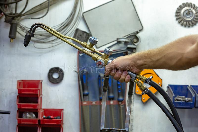 Argon arc welding, Inert gas shielded arc welding in a Workshop.  stock images