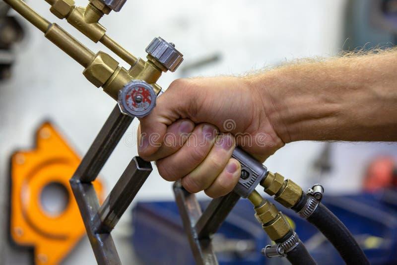 Argon arc welding, Inert gas shielded arc welding in a Workshop.  royalty free stock images