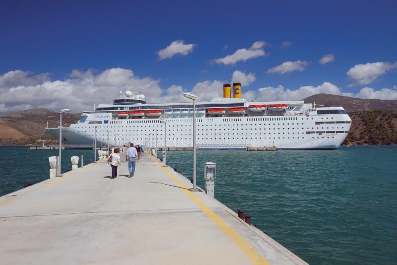 Argostoli, Kefalonia, Greece - Sep 18, 2013: Pier mooring and cruise liner stock photos