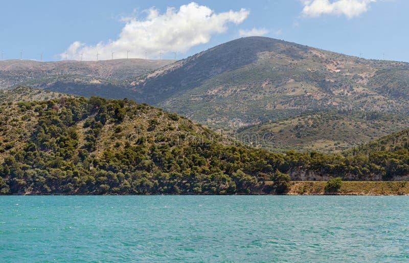 Argostoli schronienie na Kefalonia wyspie, Grecja Piękny lata viiew nad wodą fotografia royalty free