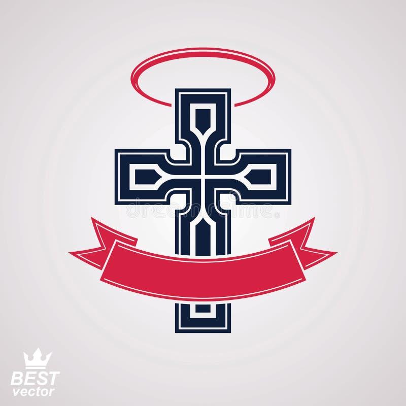 Argt emblem för klosterbroder med nimbus och det dekorativa bandet, ande royaltyfri illustrationer