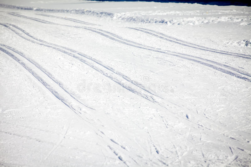 Argt land Ski Tracks i Engadin royaltyfri fotografi
