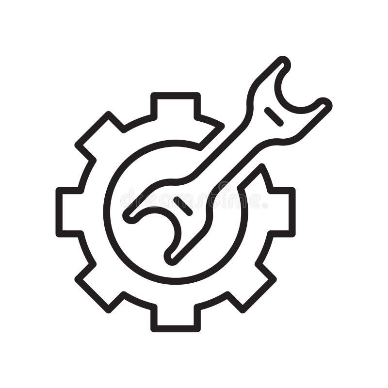 Argt tecken och symbol för skiftnyckelsymbolsvektor som isoleras på vit backg stock illustrationer