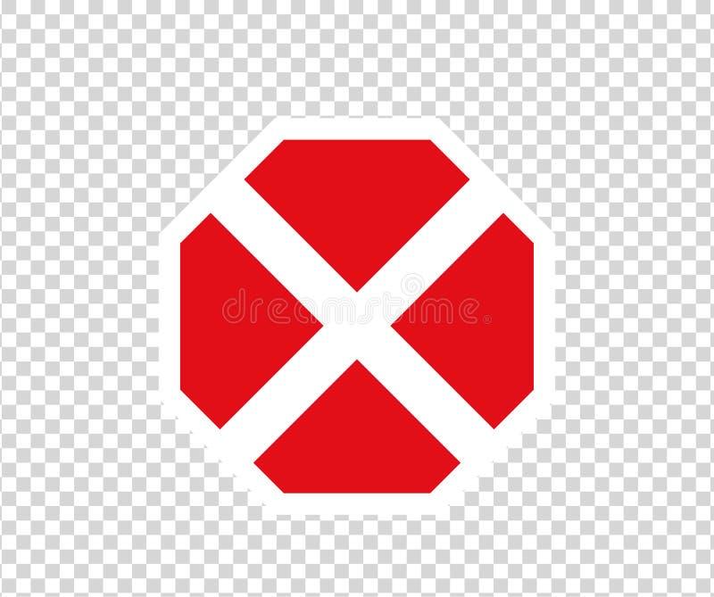 Argt vägmärke för stopp med handgest Nytt rött skriver in inte trafiktecknet Tecken f?r riktning f?r varningsf?rbudsymbol Varning stock illustrationer