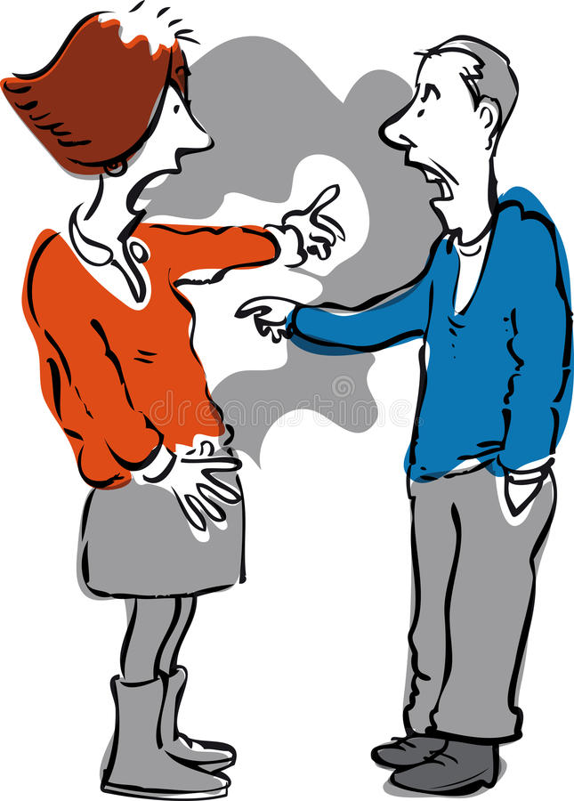 Arguing couple stock illustration