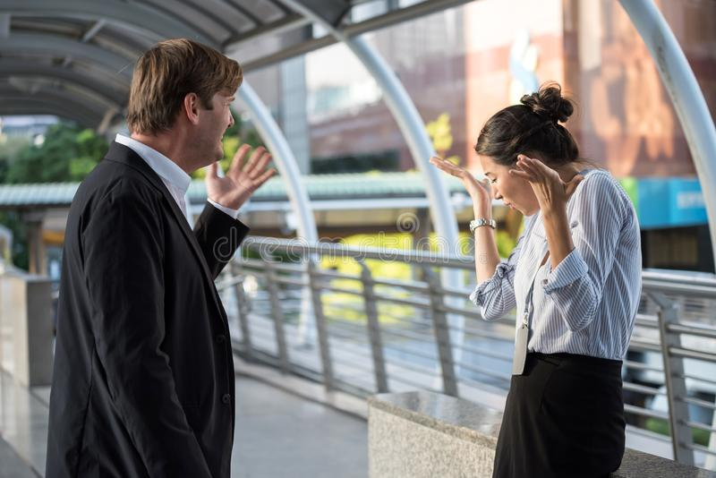 Argument and conflict of business worker in city royalty free stock photography