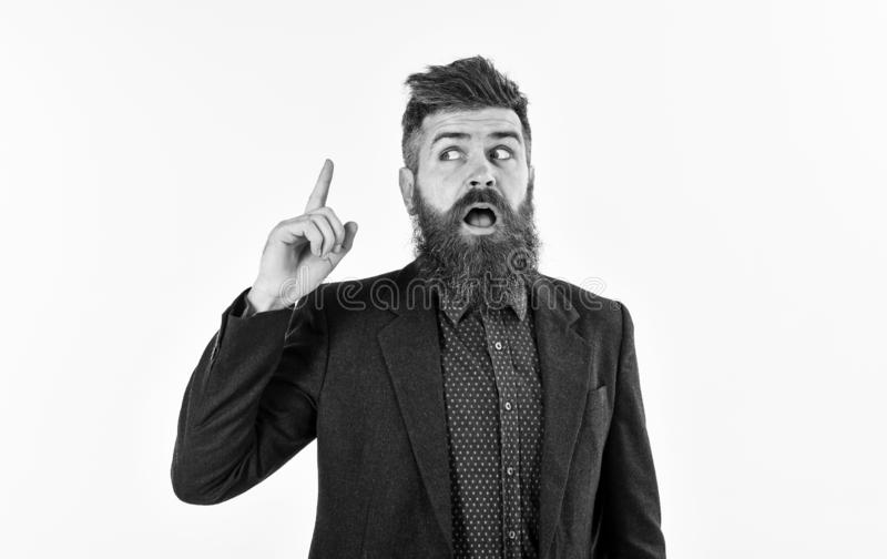Argument, discussion, news, emotions concept. Bearded man with pointing finger. Employer, director or office worker with. Open mouth gives orders. Mature man stock photo
