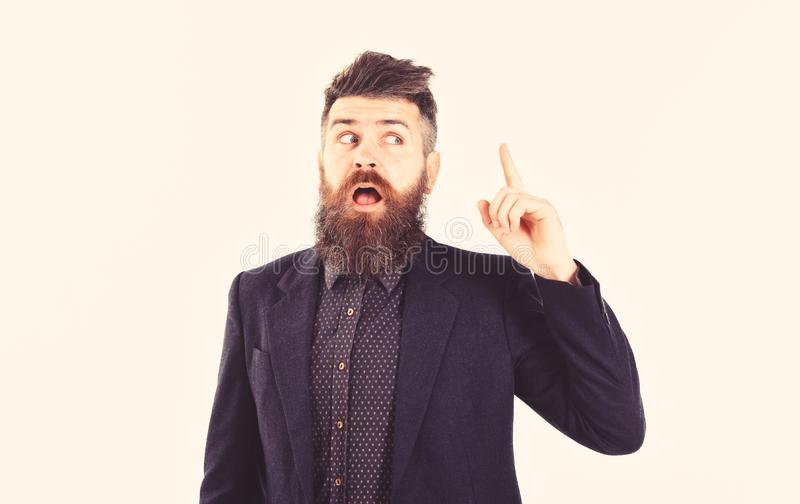 Argument, discussion, news, emotions concept. Bearded man with pointing finger. Employer, director or office worker with. Open mouth gives orders. Mature man stock images