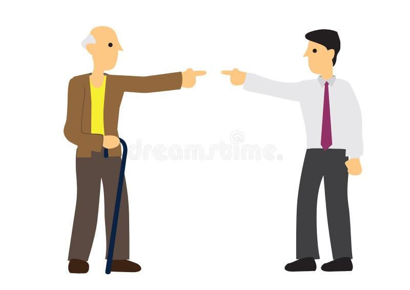 Argument tussen de oude mens en de jonge mens Concept onderscheid of nadeel of oneerlijkheid stock illustratie