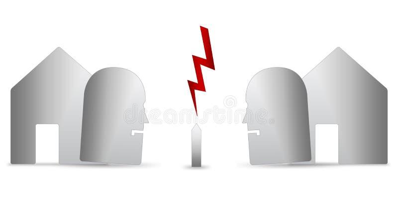 Argumentação de dois vizinhos ilustração stock