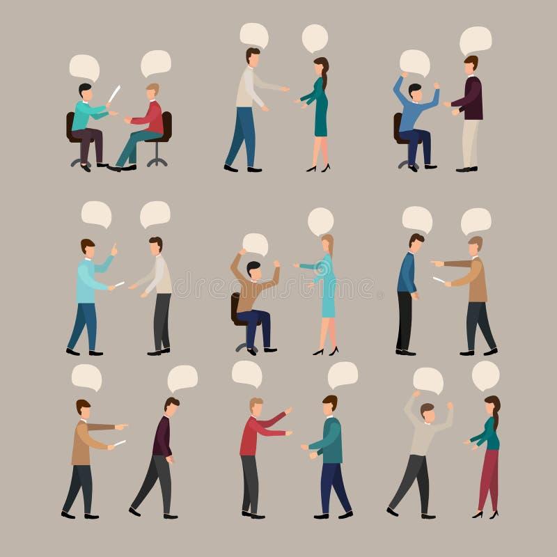 Argumentation des personnes, de l'illustration de vecteur, ensemble avec le malentendu agressif contradictoire de jeunes hommes e illustration libre de droits