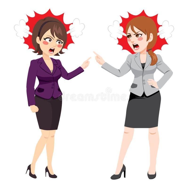 Argumentera för affärskvinnor stock illustrationer