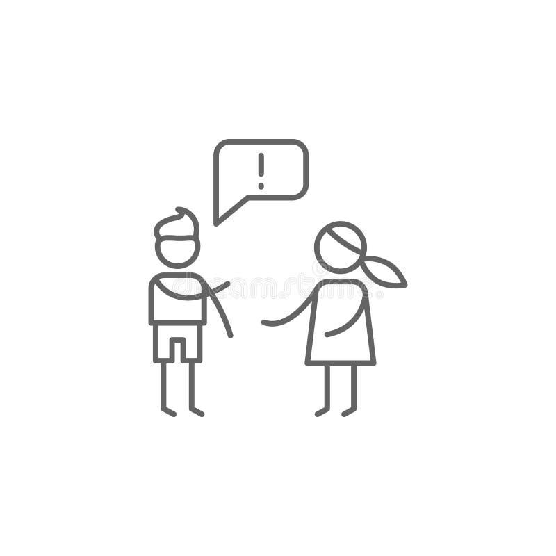 Argumento, ícone da família Elemento do ?cone da vida familiar Linha fina ?cone para o projeto do Web site e o desenvolvimento, d ilustração royalty free