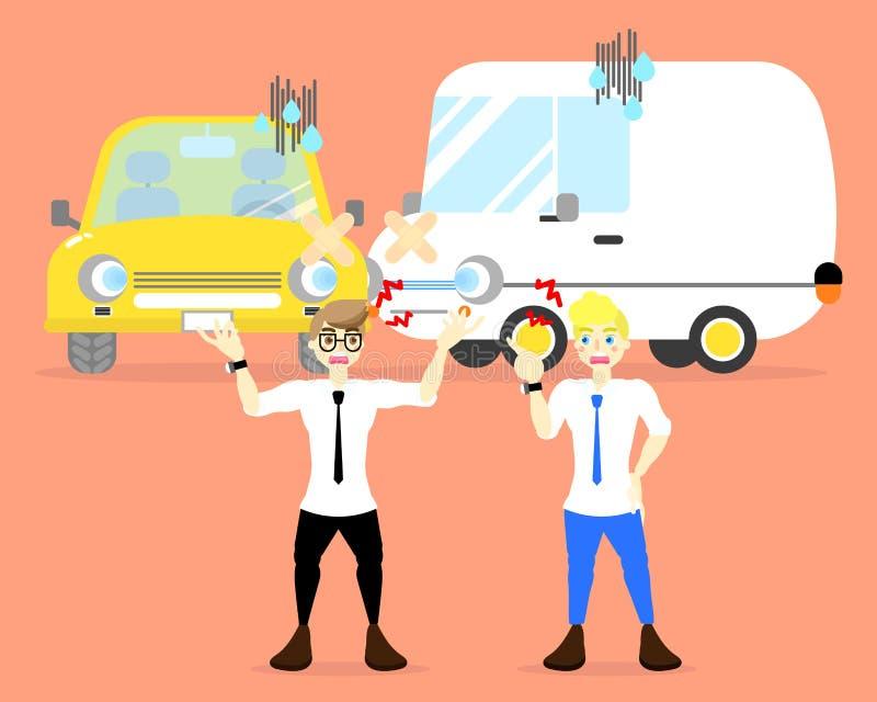 Argumento com carro do impacto, conceito de dois homens do acidente ilustração stock
