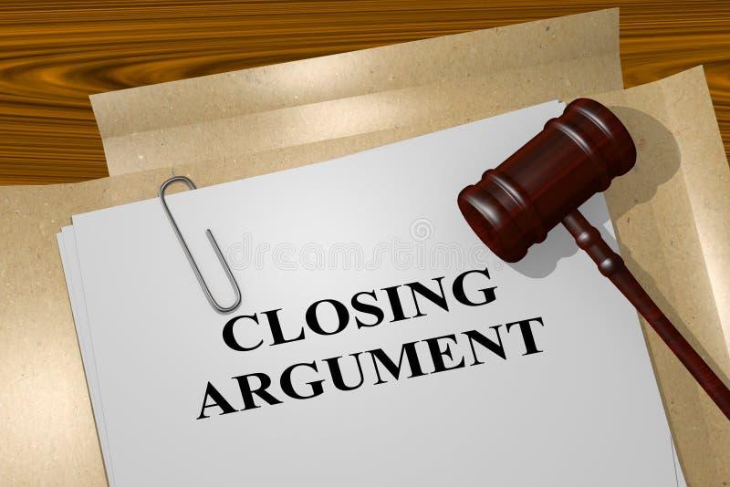 Argumento de fechamento - conceito legal ilustração stock