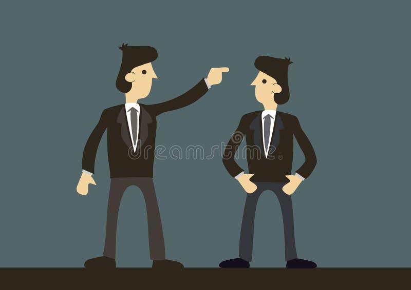 Argumento dos homens de negócios Conceito da discussão, do desacordo e da sabotagem incorporados no escritório ilustração royalty free