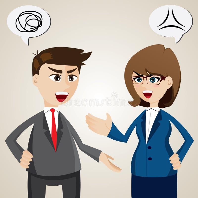 Argumento entre o homem de negócios e a mulher de negócios ilustração do vetor