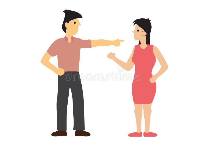 Argumento entre pares Conceito da discriminação ou do desacordo ilustração stock