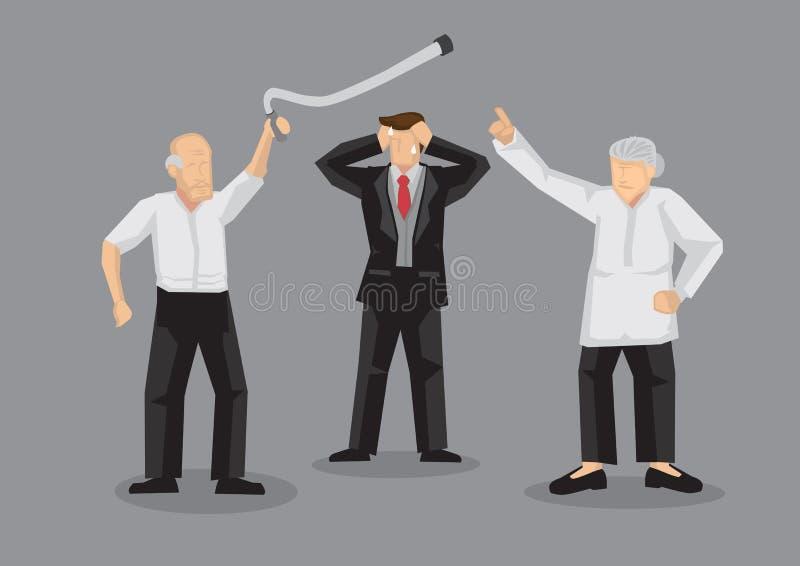 Argumento velho dos povos e forçado acima do mediador Cartoon Vetora Illustration ilustração stock