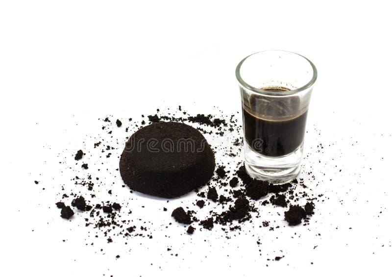 Argumentos de café y café en vidrio imágenes de archivo libres de regalías