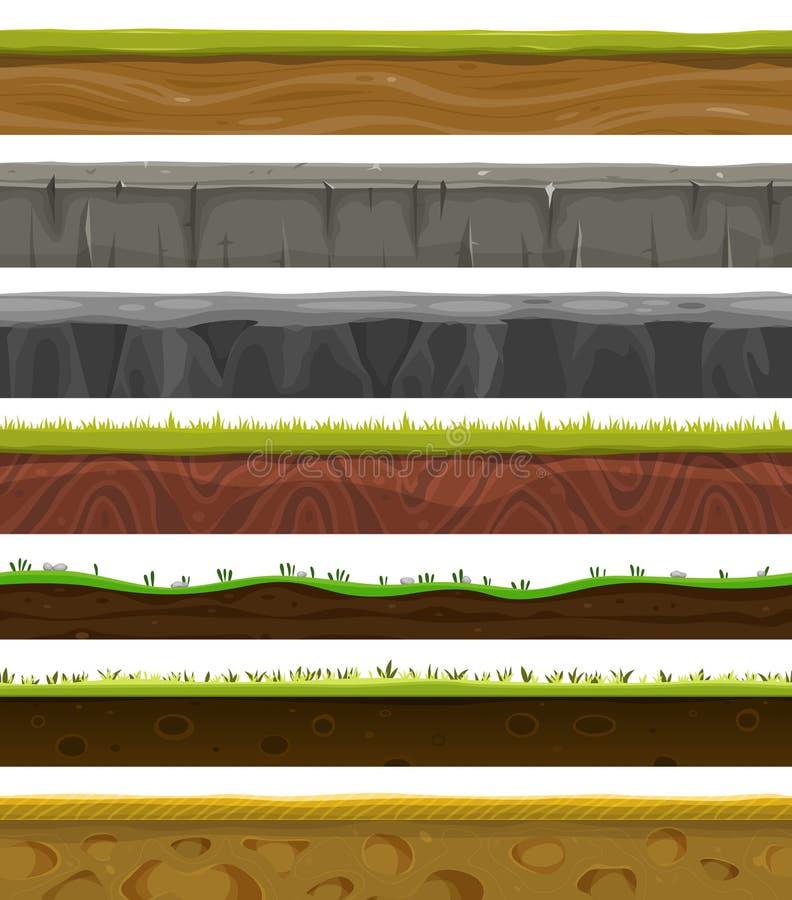 Argumentos, suelo e hierba inconsútiles para el juego de Ui ilustración del vector