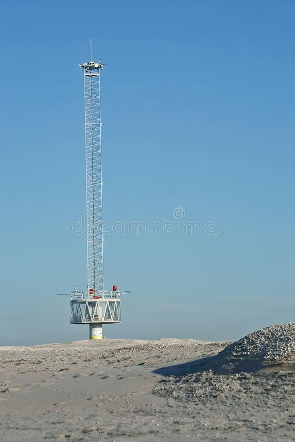 Argus measuring station on the experimental artificial coastline Zandmotor. Near Den Haag, The Netherlands royalty free stock images