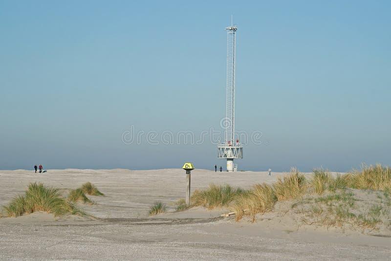 Argus measuring station on the experimental artificial coastline Zandmotor. Near Den Haag, The Netherlands royalty free stock photography