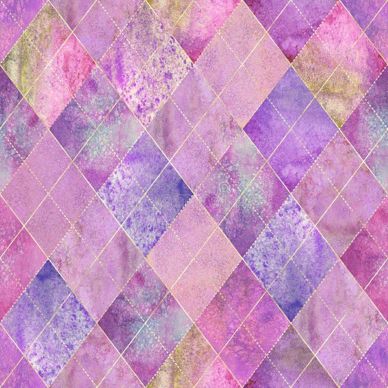 Argyle几何五颜六色的桃红色水彩无缝的样式 皇族释放例证