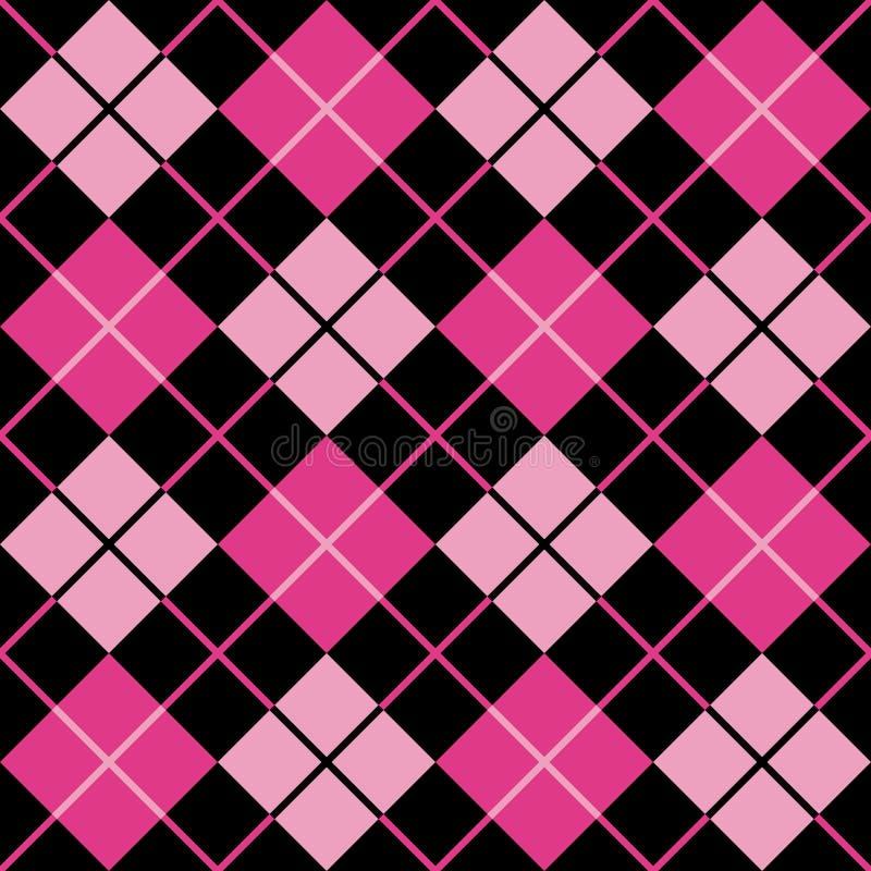 argyle黑色紫红色模式粉红色 皇族释放例证