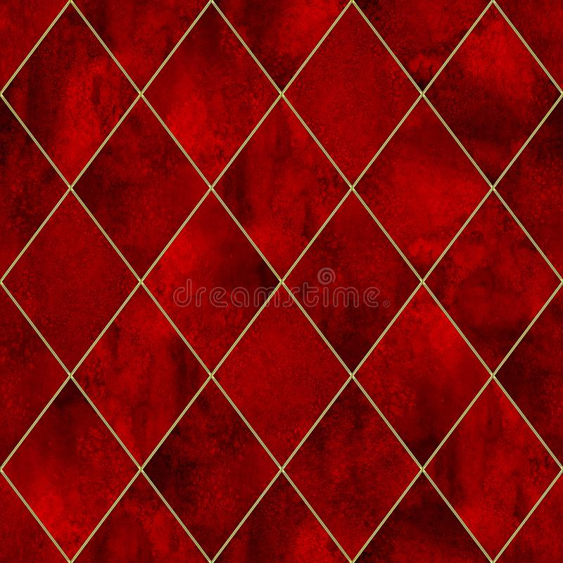 Argyle bloody grunge watercolor seamless pattern. Watercolor bloody red argyle abstract geometric plaid seamless pattern with gold glitter contour. Watercolour royalty free illustration