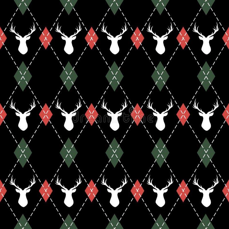 Argyle del modelo de la Navidad y del Año Nuevo con los ciervos libre illustration