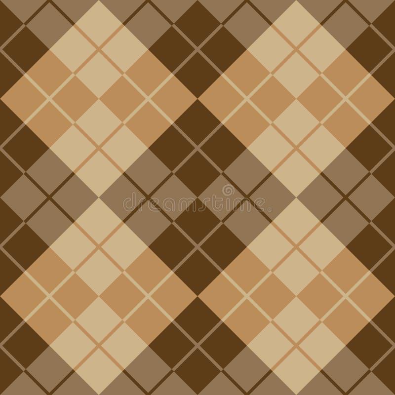 Argyle Design i brunt och beiga royaltyfri illustrationer