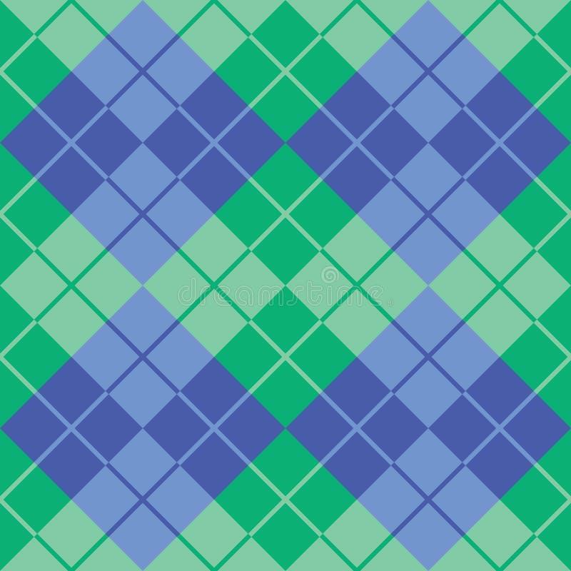 Argyle Design i gräsplan och blått vektor illustrationer