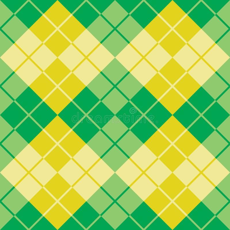 Argyle Design i gräsplan och guling stock illustrationer