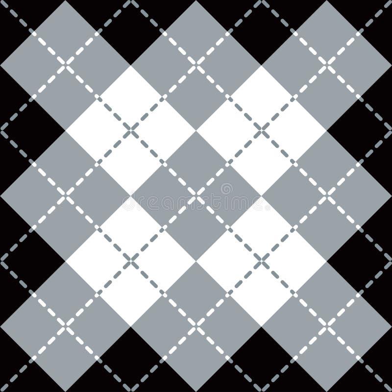 Argyle Design i grå färger, vit och svart stock illustrationer