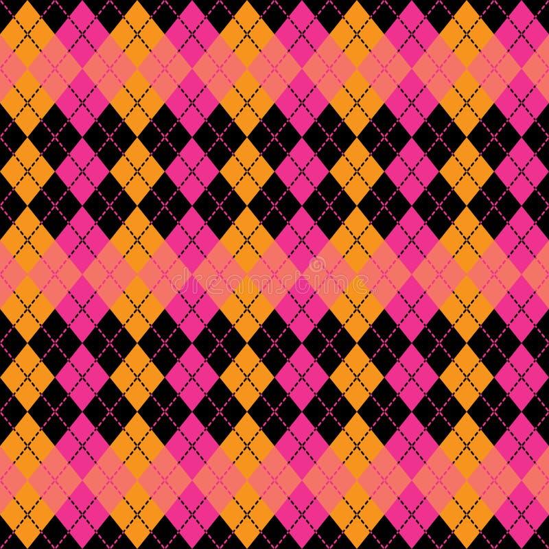 Argyle Design i rosa färger, apelsin och svart vektor illustrationer