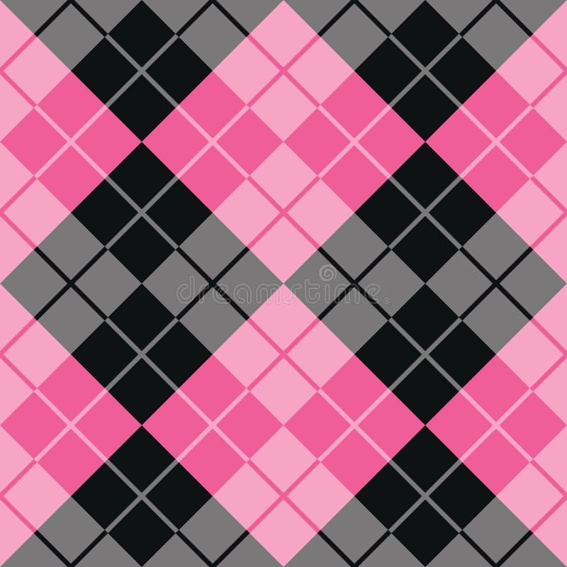 Argyle Design i rosa färger och svart royaltyfri illustrationer
