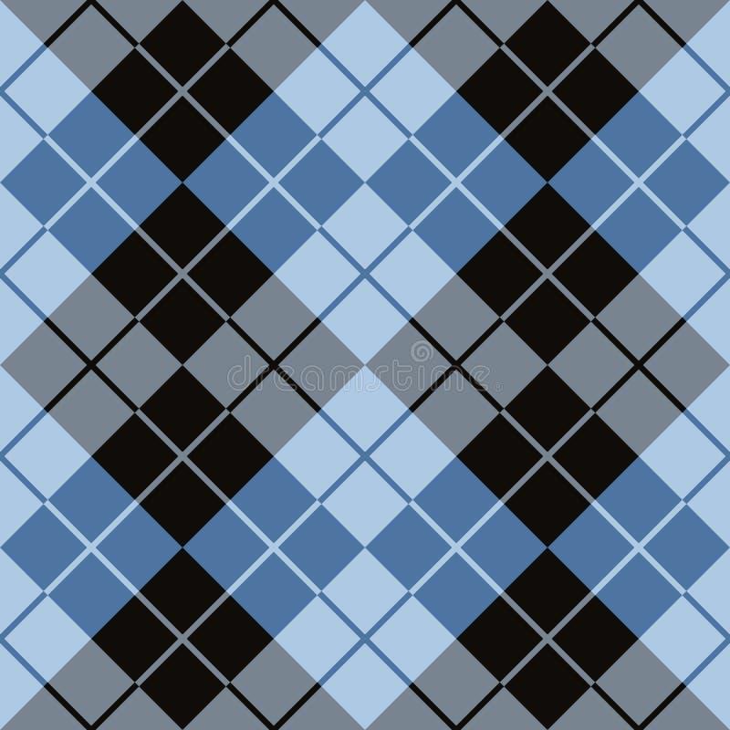 Argyle Design i svart och blått royaltyfri illustrationer