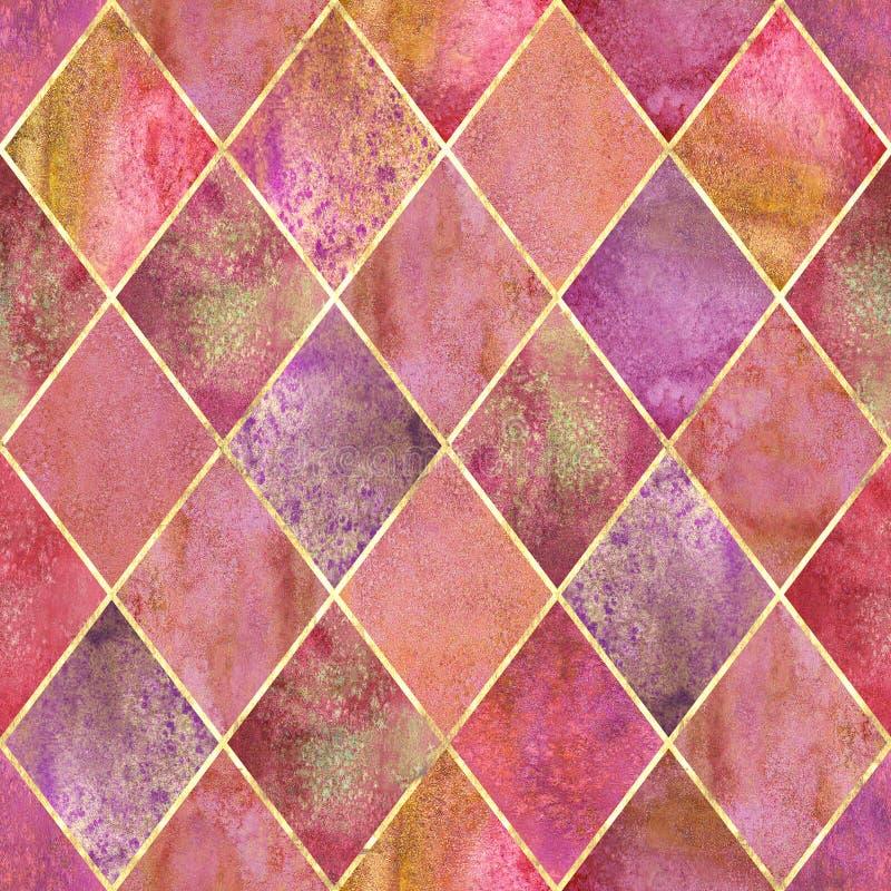 Argyle geometric watercolor seamless pattern royalty free illustration