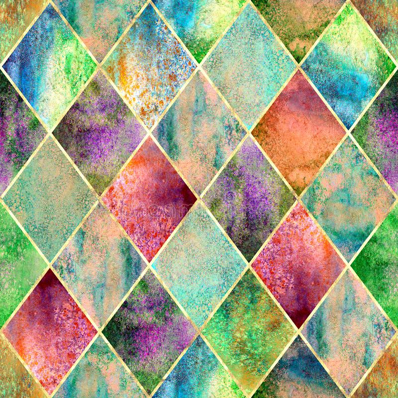 Argyle geometric watercolor seamless pattern. Watercolor argyle abstract green geometric plaid seamless pattern with gold glitter line contour. Watercolour hand royalty free illustration