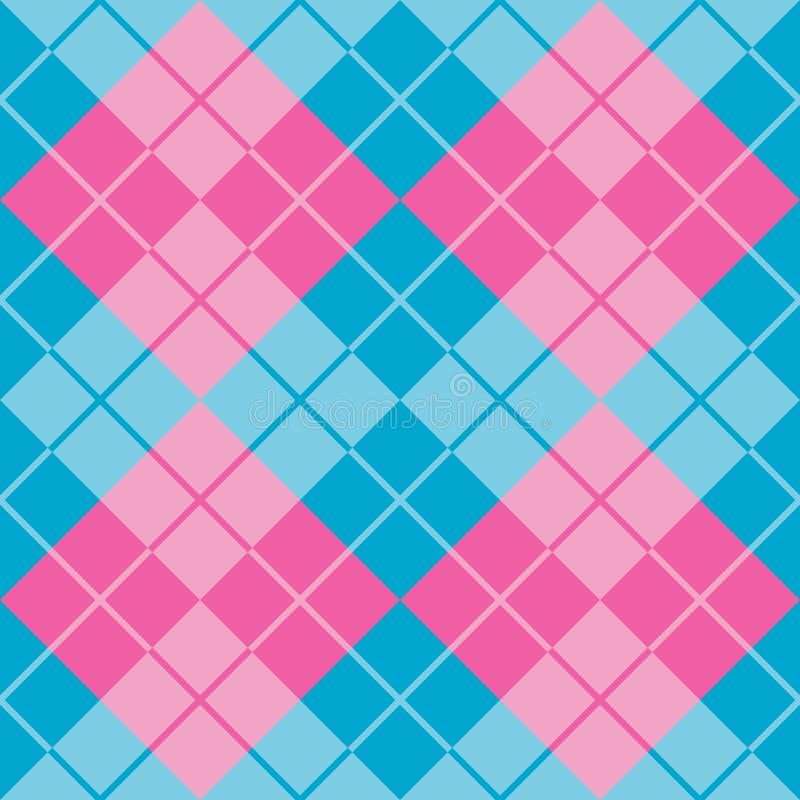 Argyle i blått och rosa färger stock illustrationer