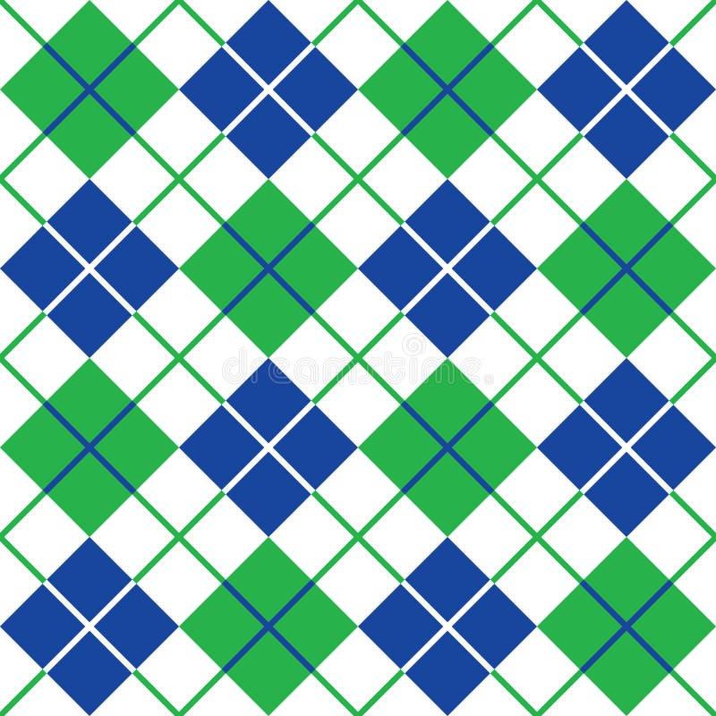 Argyle Pattern en azul, verde y blanco ilustración del vector